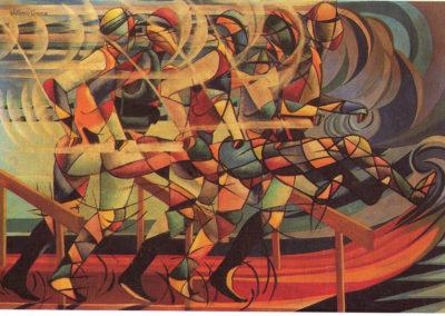 V.Corona Corsa ad ostacoli 1923 olio su tela cm 45x64 pubbl. cat futurismo a cura di e crispolti