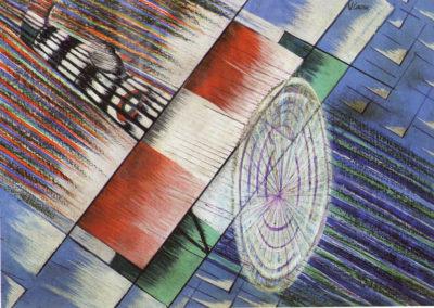 corona dinamismo tricolore 1922 olio e temprea su carta cm 42,5 x 59 pubbl. cat passo di corsa a cura di a. ruta