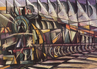 corona treno+stazione olio su tavola cm 25x66 1921 pubbl cat.serate futuriste a cura di M.Scudiero