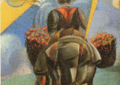 rizzo il ritorno dalla campagna olio su tela 1920 cm 11x60 pubbl cat.serate futuriste a cura di M.Scudiero