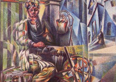 rizzo l'arrotino olio su tela cm 118x94,5 1921 pubbl cat.serate futuriste a cura di M.Scudiero pubbl cat futurism a cura di m.scudiero