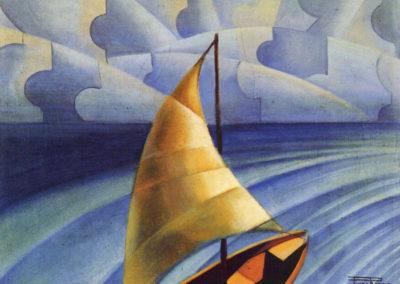 rizzo vela - mare scirocco 1926 olio su tela cm 60x50 pubbl cat pippo rizzo a cura di a. ruta