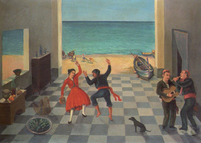 varvaro danza rustica olio su tela cm 70x100 1953 pubbl cat solitudini sospese ed eidos 2004 a cura di anna maria ruta
