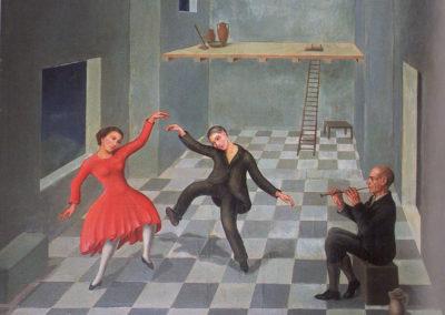 varvaro la danza (danza rustica) olio su tavola cm 63x83 1931 pubbl cat solitudini sospese ed eidos 2004 a cura di anna maria ruta